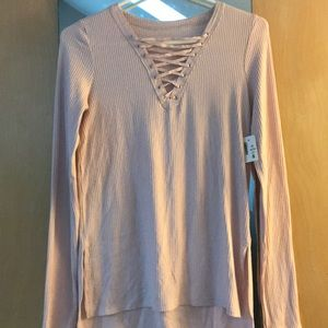 Light pink super soft long sleeve lace up top